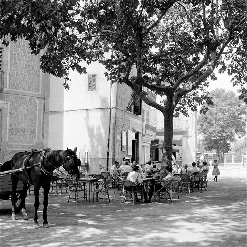People sitting on a terrace in Sóller, 1956