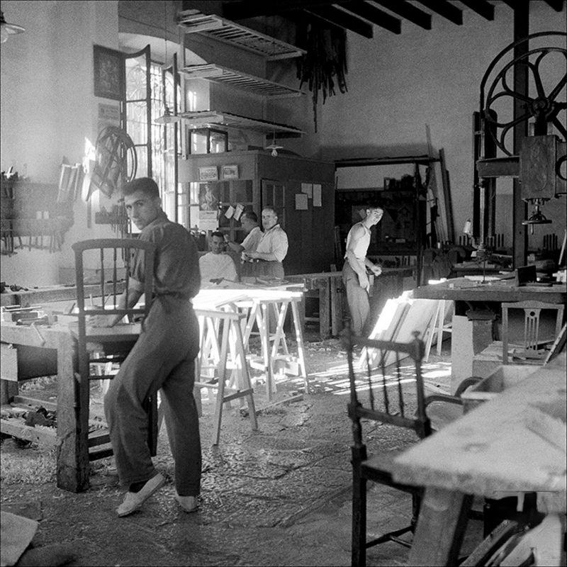 People working in a chair factory, 1957