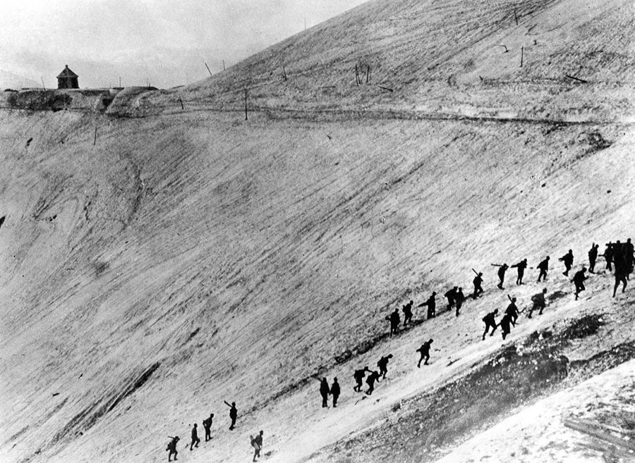 Austro-Hungarian troops scale the slopes of Monte Nero. 1917.