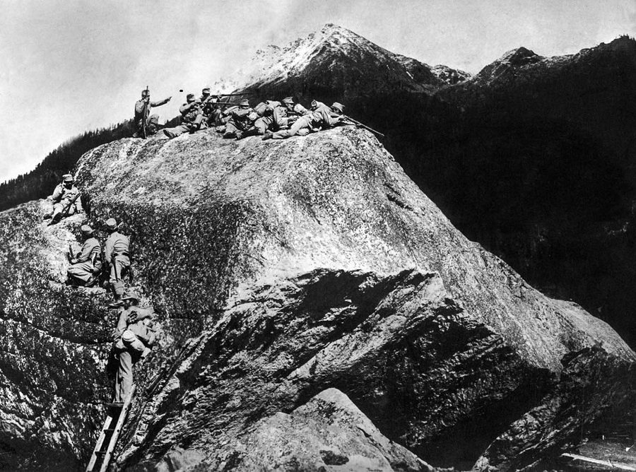 Austrian soldiers defend a mountain outpost in the Isonzo region.