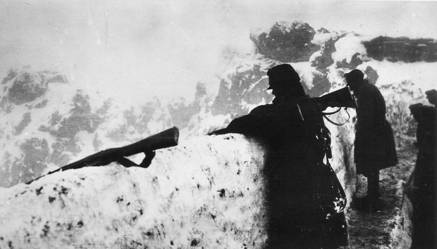Austrian forces watch the front line from a high point. 1917.