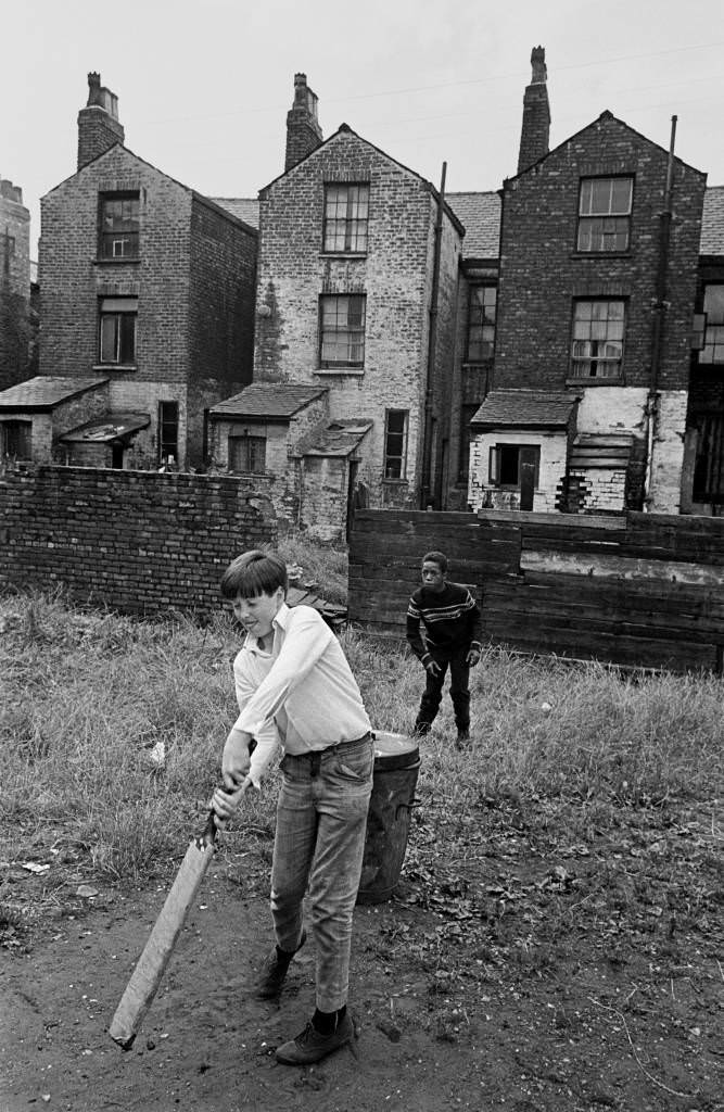Game of cricket on wasteground Moss Side 1969 71-5