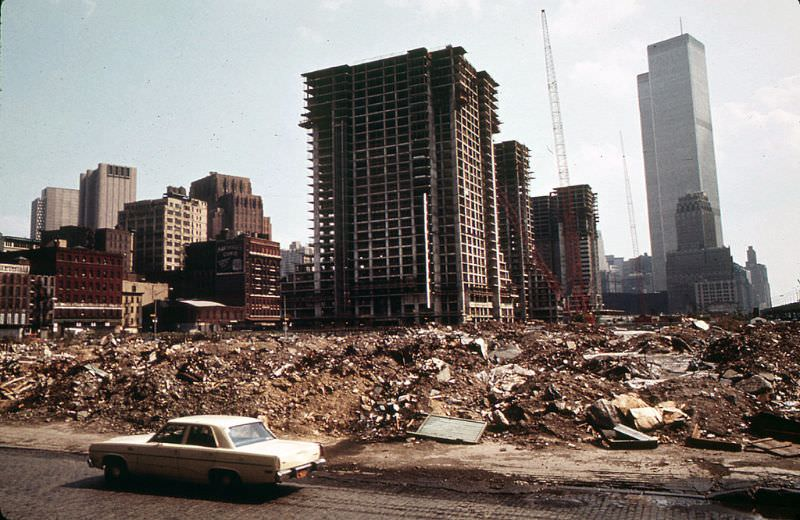 Independence Plaza North going up in what is now Tribeca in Lower Manhattan, June 1973