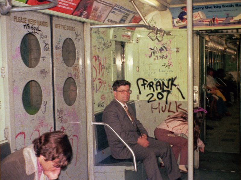 Subway 1973-style with graffiti, March 1973
