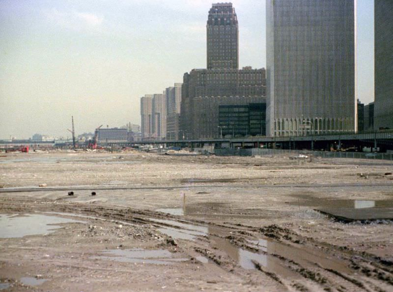 Battery Park City landfill, NY Telephone Company, abandoned West Side Highway and the World Trade Center, 1974