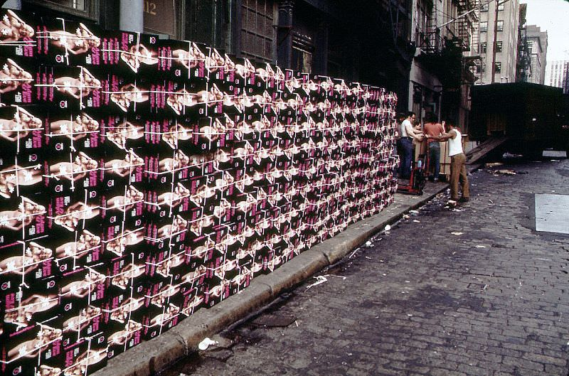 Boxes of Adam and Eve products on Reade Street looking east from West Broadway, New York, July 1974