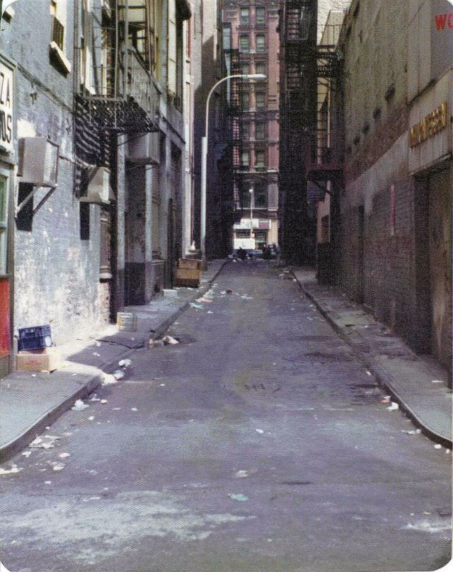 Theatre Alley downtown off Ann Street, the narrowest street in Manhattan, filled with the litter and trash, March 1974