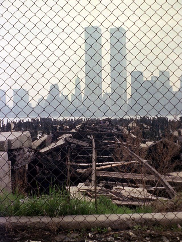 Abandoned piers at Exchange Place in Jersey City and the World Trade Center across the Hudson in Lower Manhattan, April 1975