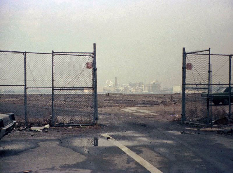 Battery Park City was just a lot of mud with a great view to the industrial skyline of Jersey City and the Colgate Clock, right across West Street from the World Trade Center, April 1975