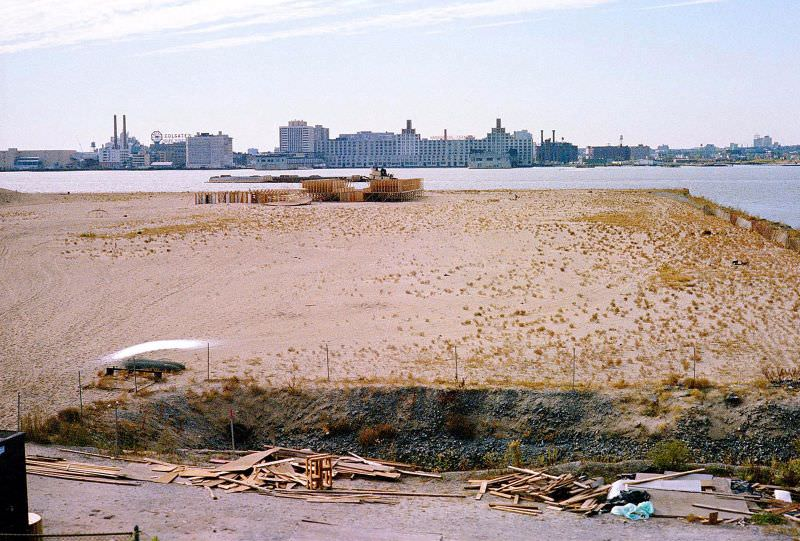 The abandoned West Side Highway looking out at the completed Battery Park City landfill, New York, April 1978