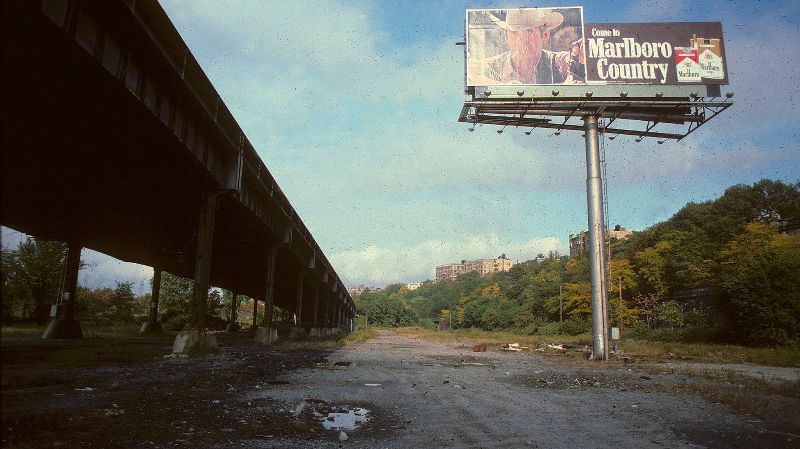 Welcome to Marlboro Country' sign under the West Side Highway by 150th Street, New York, September 1979