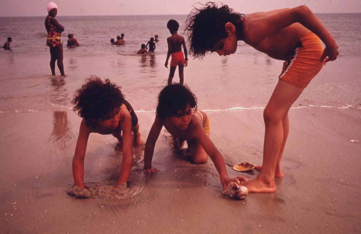 Children at the beach in Reis Park, Brooklyn, July 1974.