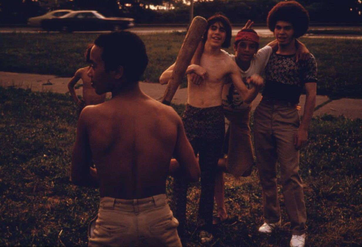 Puerto-Rican boys playing softball in Brooklyn's Hiland Park, July 1974.
