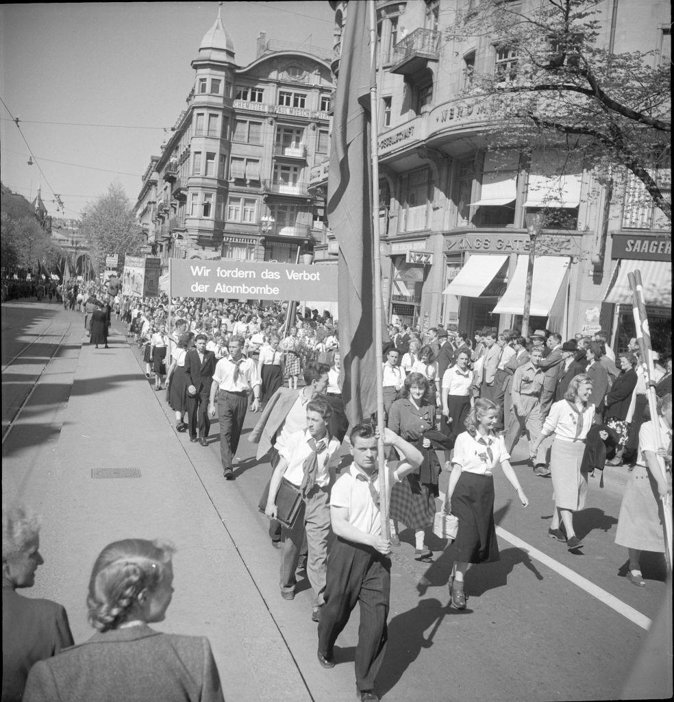 Youth at May Day rallies in Zurich 1950.