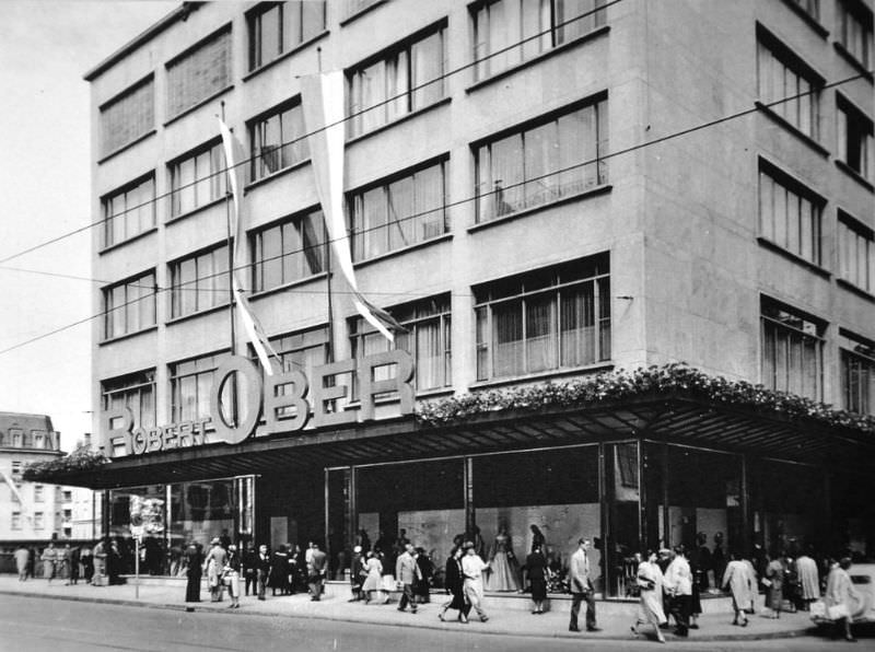 The fashion house Robert Ober in Zürich at the Gessnerallee and Sihlbrücke, 1953
