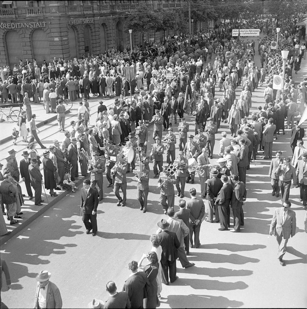 Shawm orchestra at May Day demonstration in Zurich, 1952.