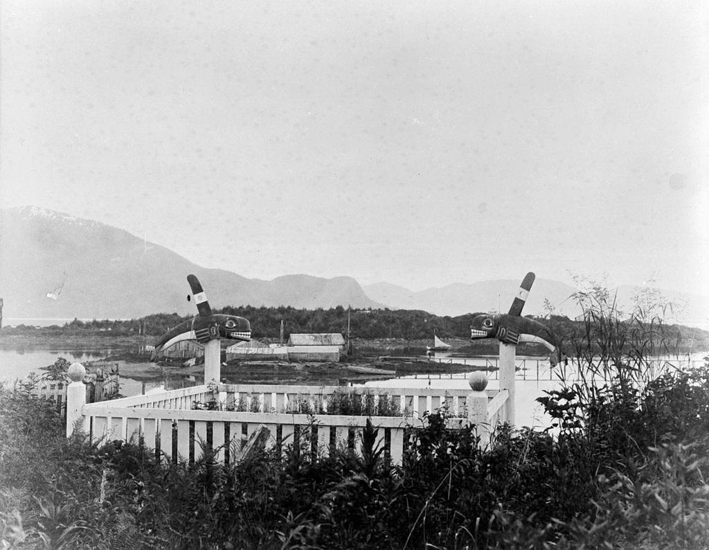 Indian Grave and Totems near Ft Wrangel, Alaska, 1860s.