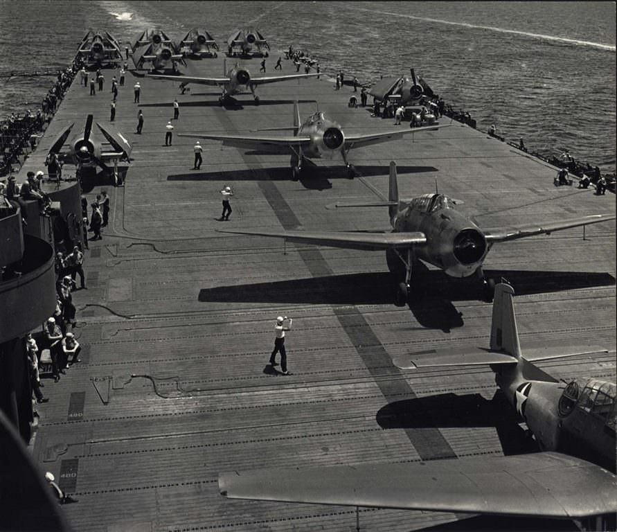 Aircraft's preparing for take off from U.S.S. Yorktown, 1943.