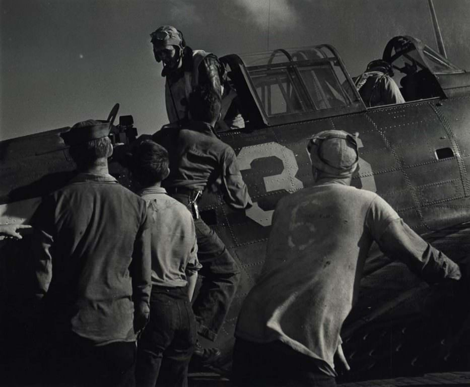 Men Getting in Aircraft, 1943.