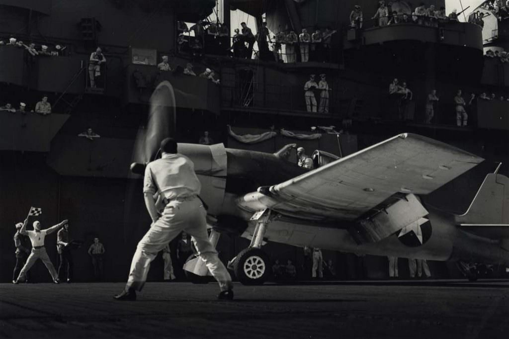 Sailors Watch as Aircraft Takes Off, 1943.
