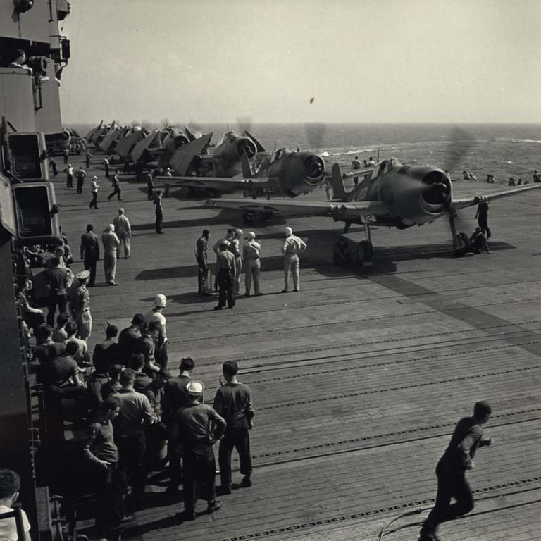 Aircraft Taking Off of Carrier, 1943.