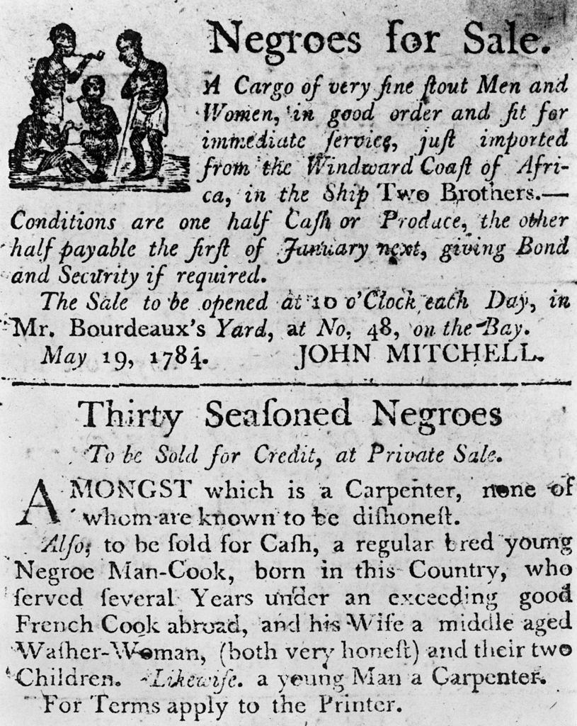 Two advertisements in a colonial broadside newspaper.