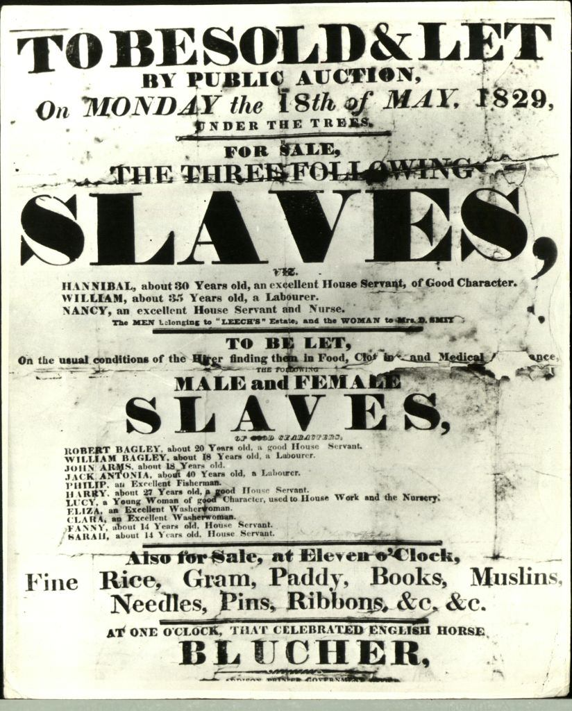 Poster for a slave auction, United States, 18th May 1829.