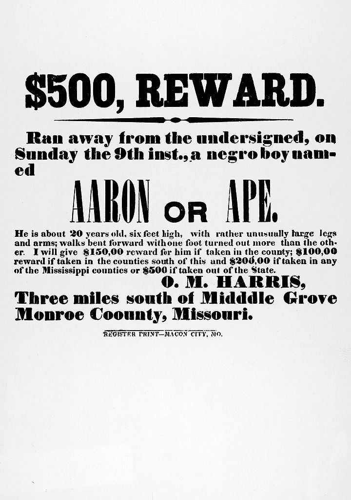 A poster offers a cash reward for the return of a runaway slave to his oppressor, Monroe County, Missouri, 1850s.