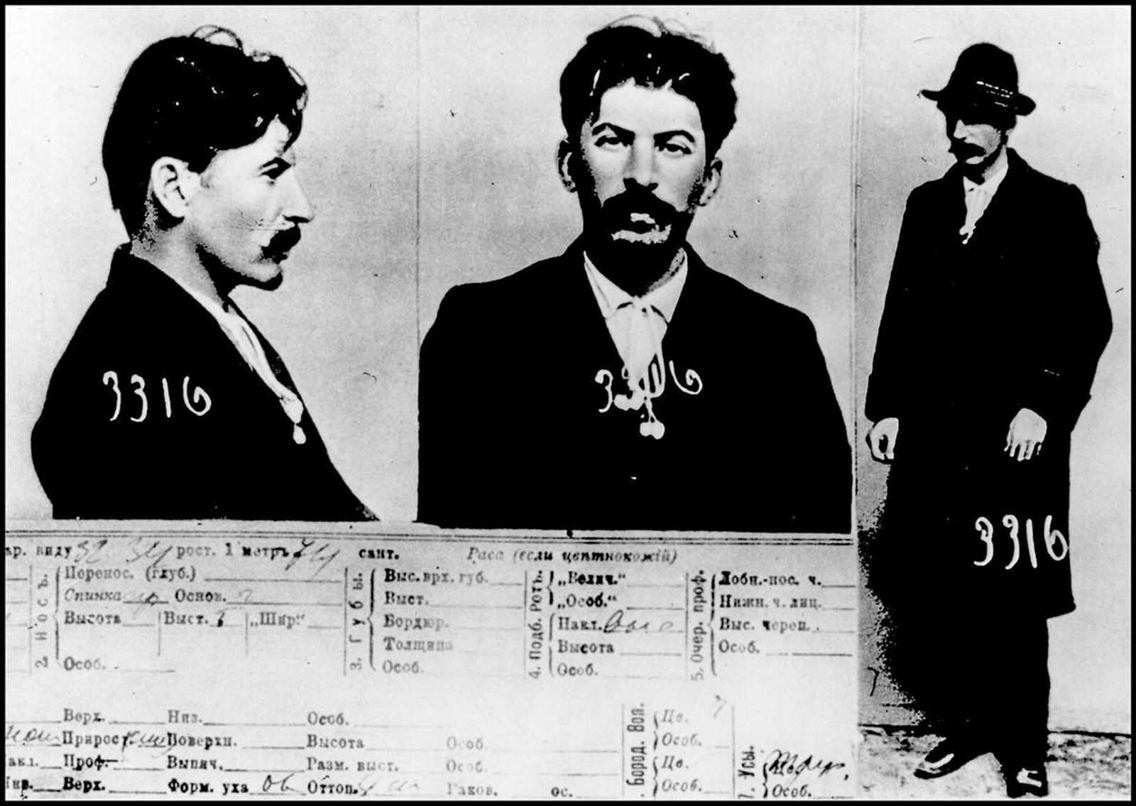 """The mugshot and the police card on """"I. V. Stalin."""" Archives of the police in Saint Petersburg, 1911"""
