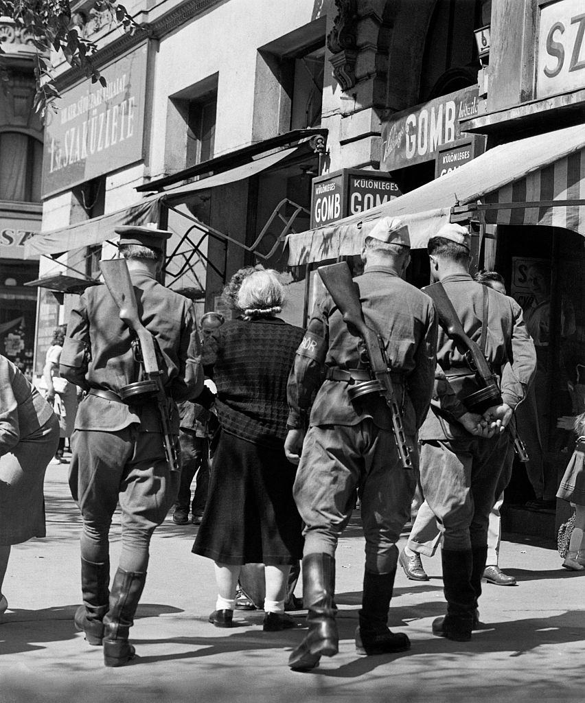 Hungarian soldiers off duty two years after the end of the revolution.