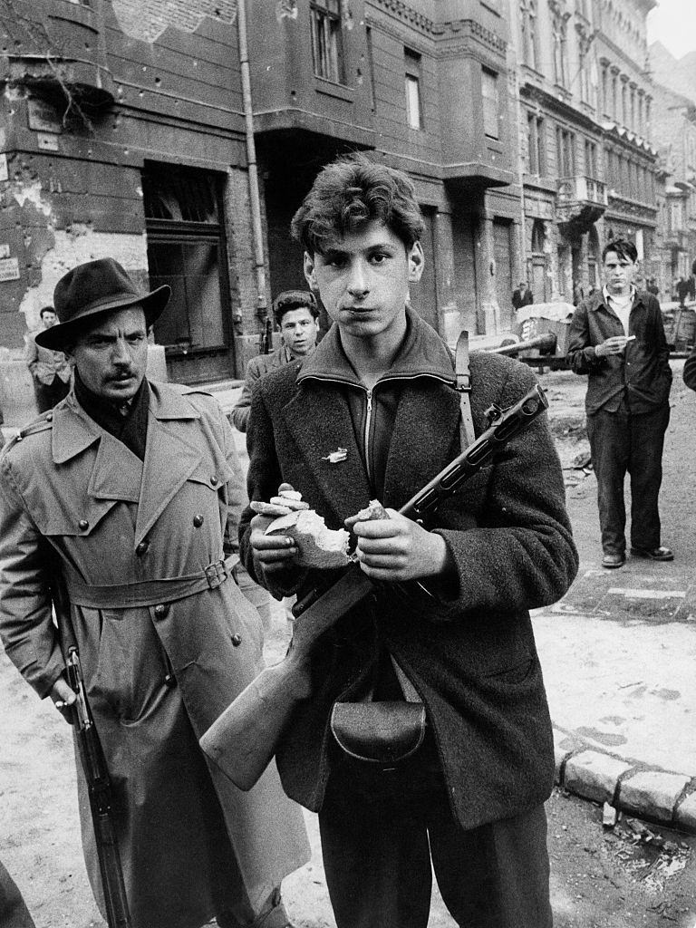 A young insurgent  during the revolt of the Hungarian people against the Soviet tyranny. Budapest, November 1956
