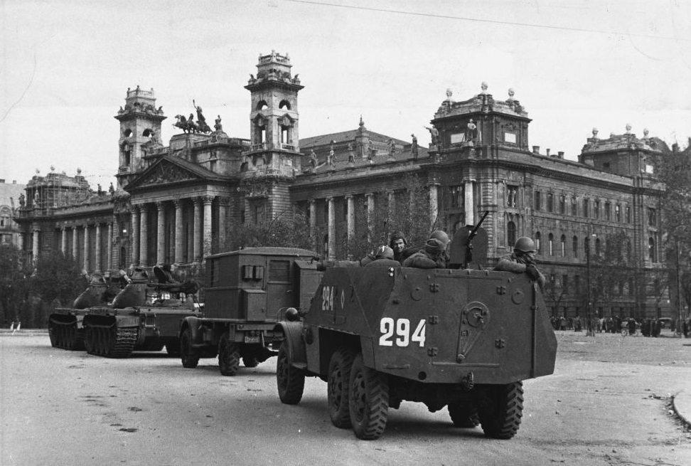 Soviet tanks surround the Parliament Building in Budapest during the repression of the anti-Communist revolution.