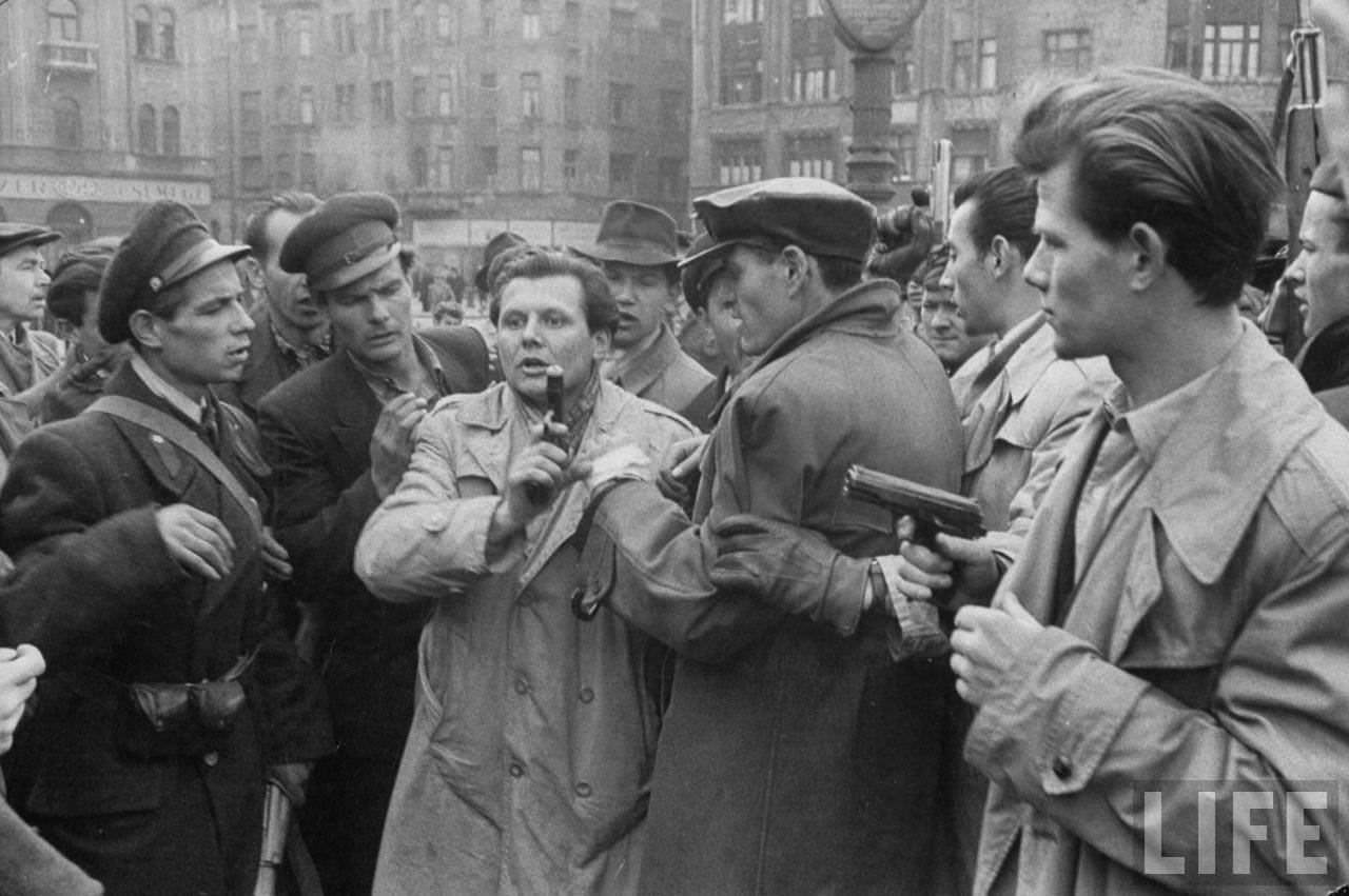 Hungarian Freedom Fighters during revolution against Soviet-backed regime.