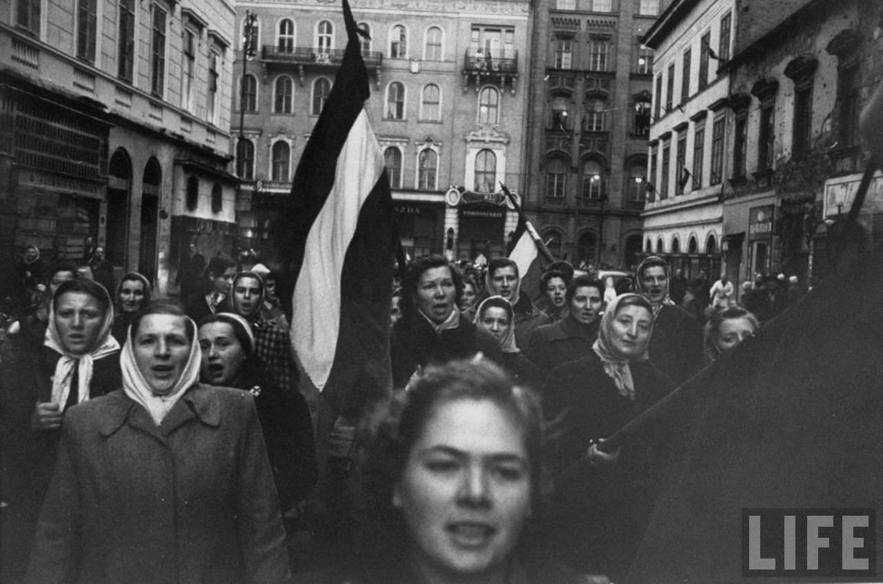Budapest rebel demonstrators, during revolution against Soviet-backed Hungarian regime.