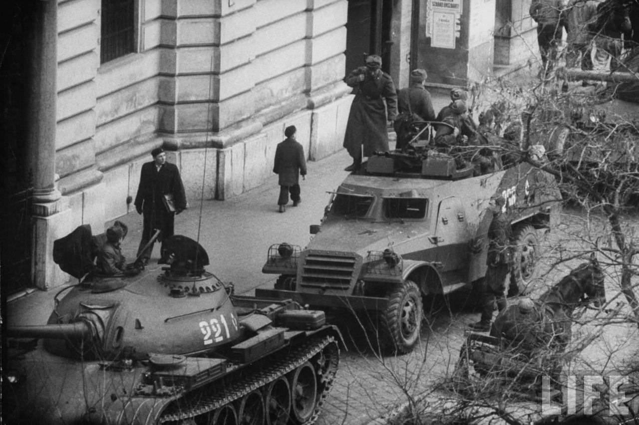 Russian tanks in Budapest following an attempted revolution by Hungarians against Soviet-backed regime.