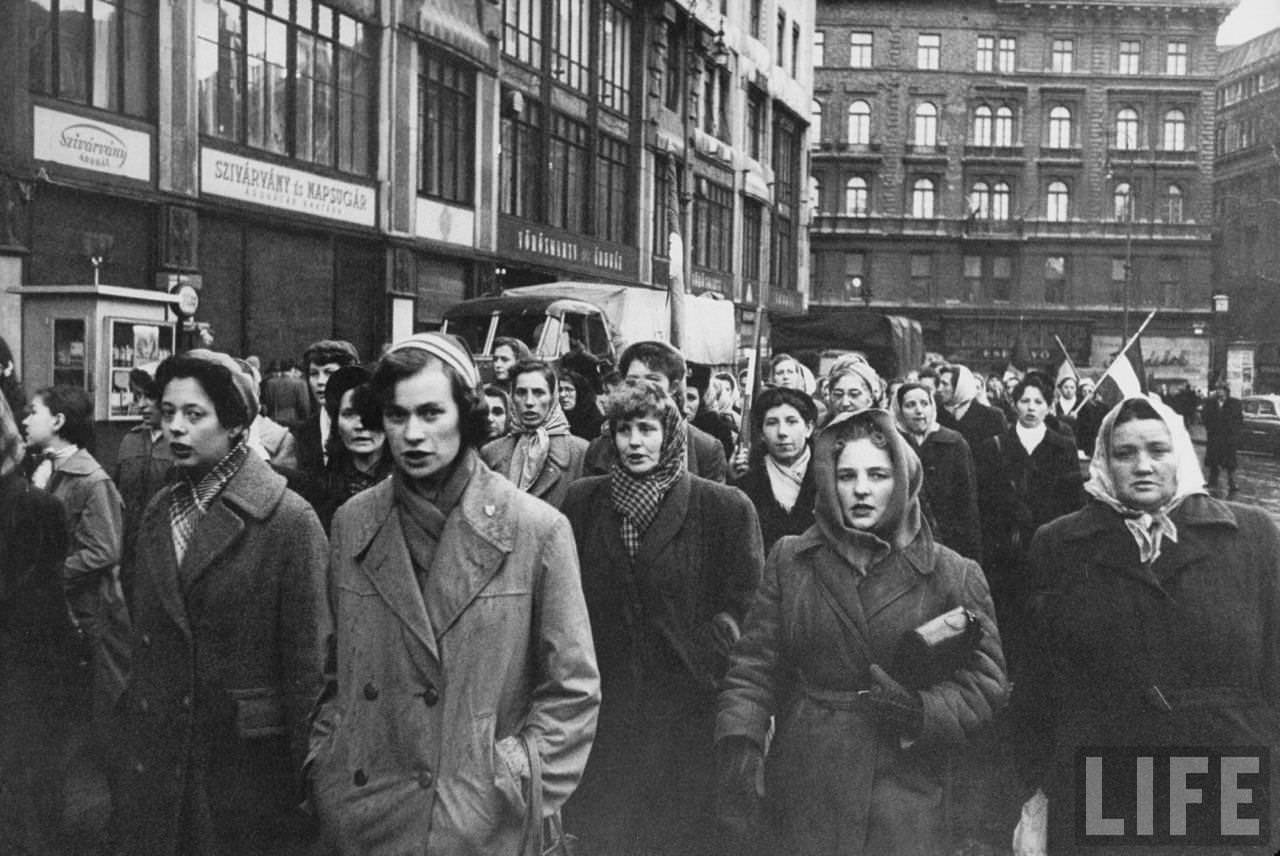 Women in Budapest march in honor of the Hungarian men who died in revolution fighting Soviet-backed communist regime.