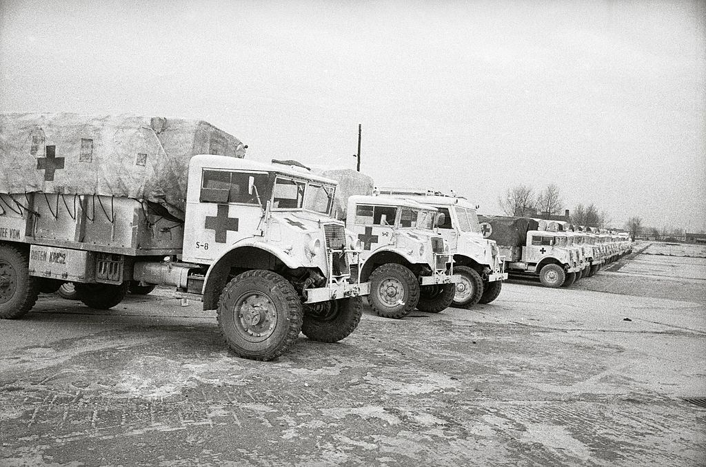 Trucks with aid supplies are waiting for the tripp to Hungary, 1956.