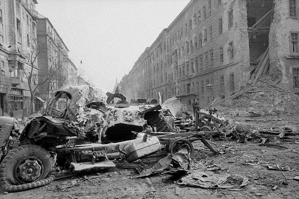 Destroyed vehicles and ruins near the Kilian barracks. Budapest, 29th October 1956.