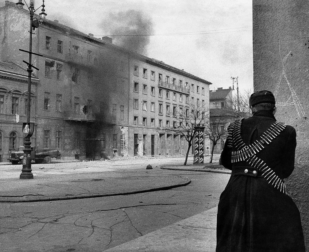 In Koztarsasag square gunmen fighting for the conquest of the headquarters of the Communist Party during the revolt. Budapest, November 1956