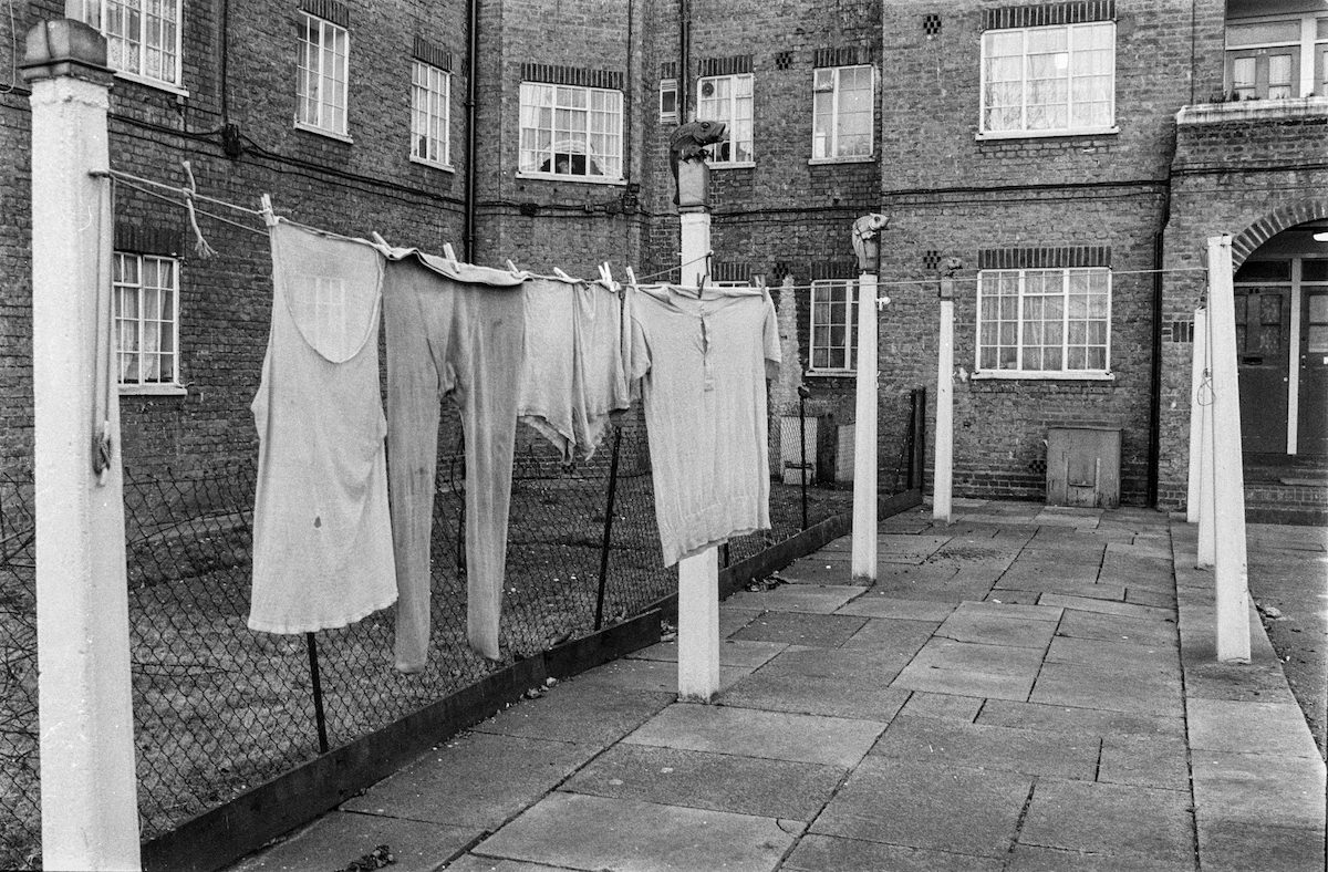 Finials, Washing posts, St Mary's House, Drummond Crescent, Somers Town, Camden, 1987