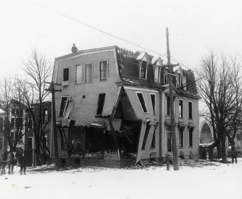 St. Joseph's Convent, a church and a school, in ruins after the devastation.