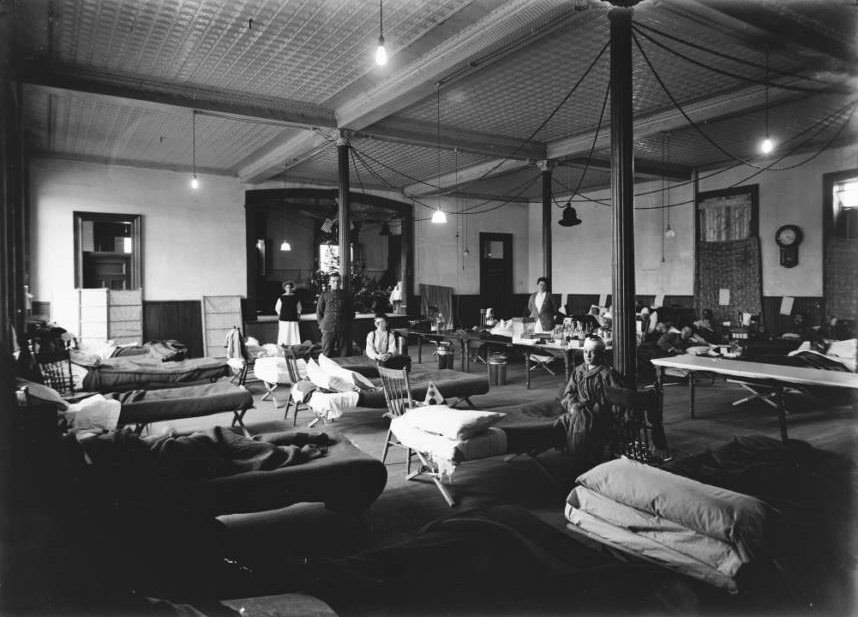 A Knights of Columbus building has been converted into a hospital to manage the massive numbers of wounded poeple.