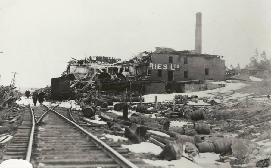 The Army and Navy Brewery company after being torn in half by the blast.
