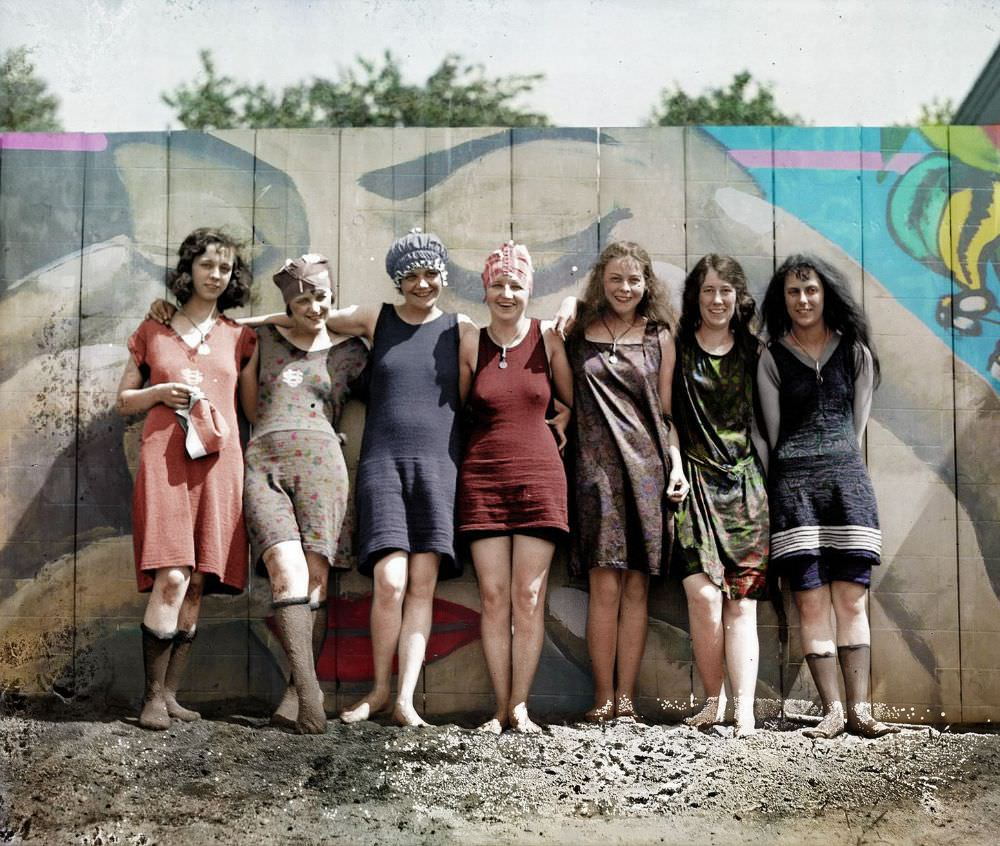 Young women posing in risque bathing suits that bare the legs and knees, Washington DC, May 29, 1920.