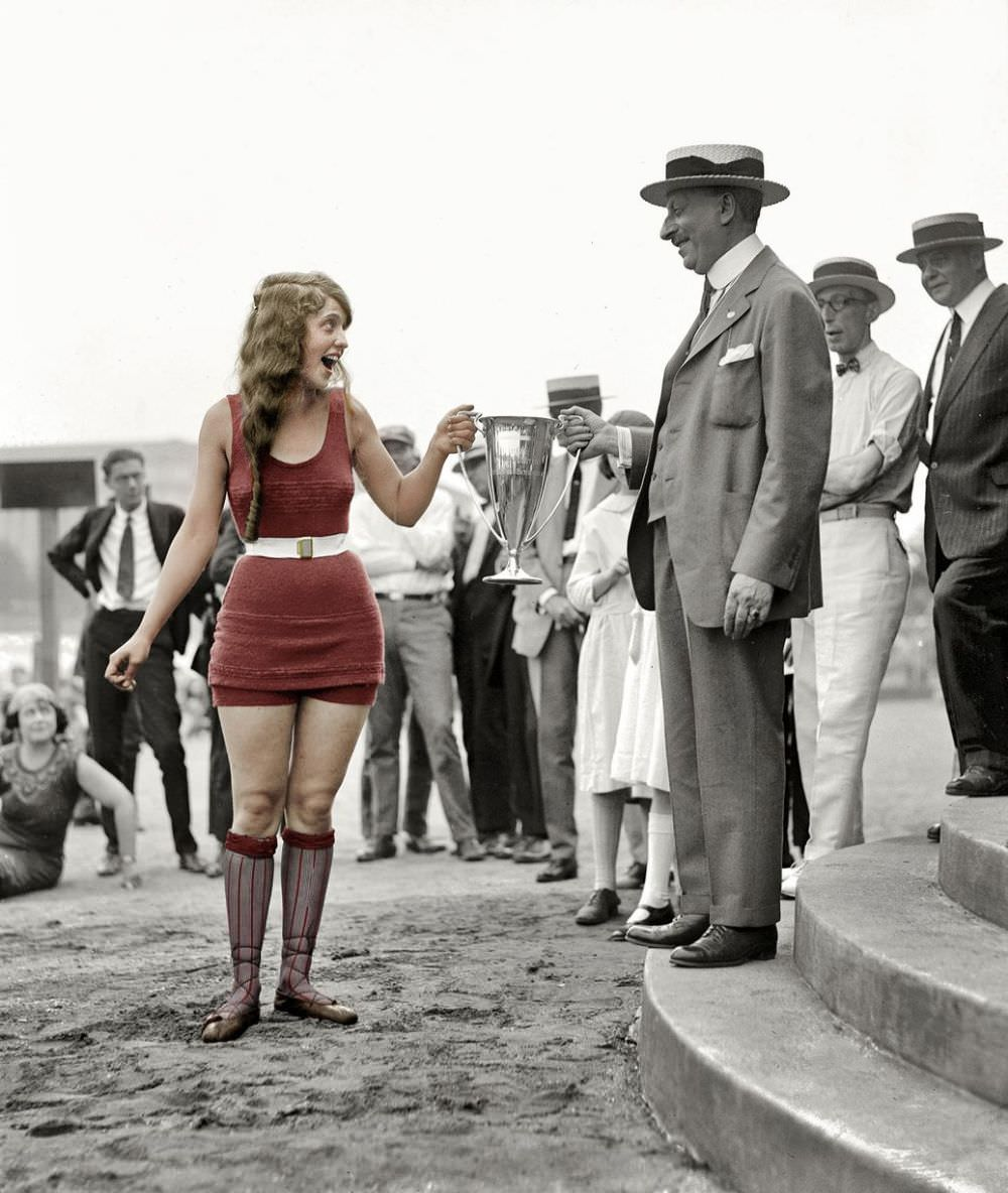 Splash of color Eva Fridell receives the winners cup on August 5th 1922 at the Washington Tidal Basin beauty contest.