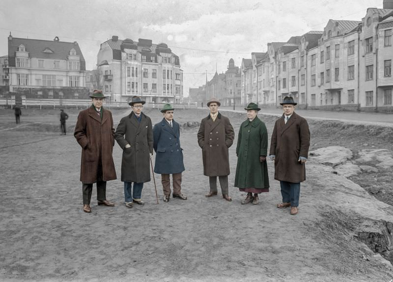 The Sports Committee of the city of Helsinki inspecting a future location for a children's playground in 1923