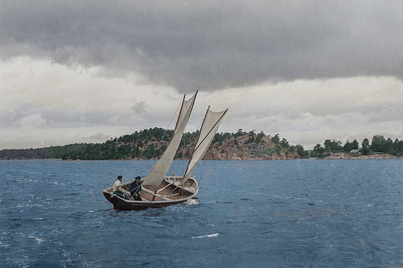 A traditional fishing boat in the Finnish archipelago in 1932