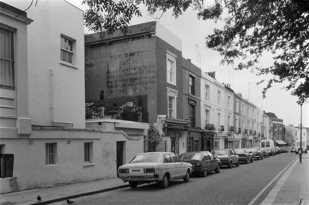 A Davey, Builder, ghost sign, Portobello Road, Notting Hill, Kensington and Chelsea, 1987