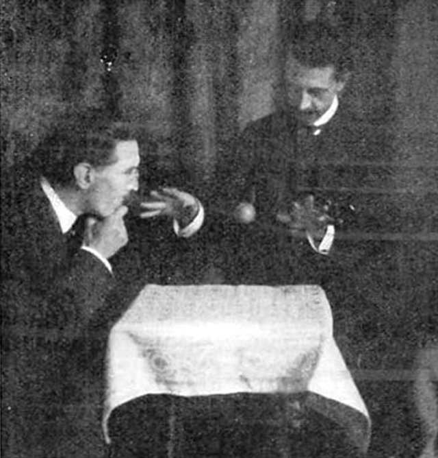 William Marriott demonstrating how this could have been done with invisible thread.