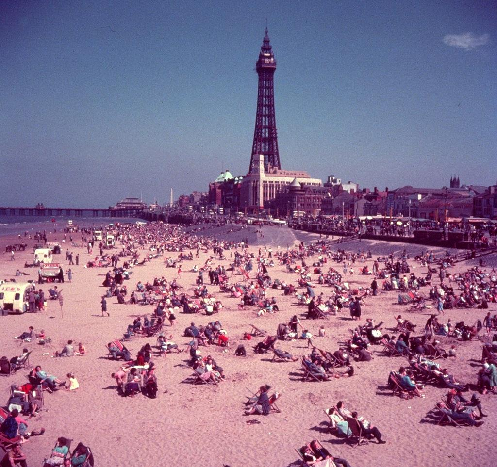 The beach at Blackpool, with the tower in the background, 1954.